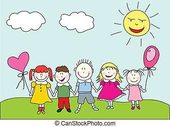 jumping happy kids stock illustrations search clipart drawings rh canstockphoto com Word Happy Clip Art happy kids clip art pictures
