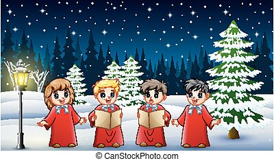 Happy kids wearing red costume singing in the snowing garden