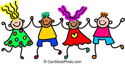 Whimsical drawing of a group of happy and diverse children holding hands.