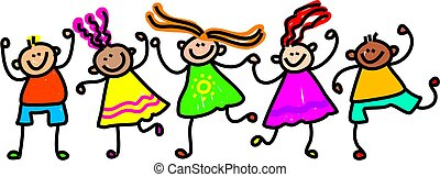 happy kids - Whimsical drawing of a group of happy and...