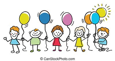 Happy kids with balloons together