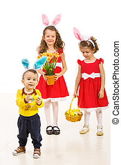 Happy kids with bunny ears