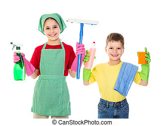 Happy kids with cleaning equipment