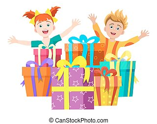 Happy kids with gifts