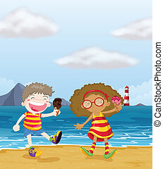 Happy kids with ice cream at the beach - Illustration of...
