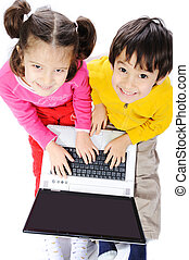 happy kids with laptop computer iso