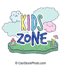 happy kids zone word label with landscape
