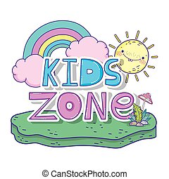 happy kids zone word label with rainbow