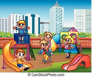 Happy kindergarten children playing in the playground