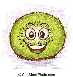 happy green kiwi cartoon character smiling.