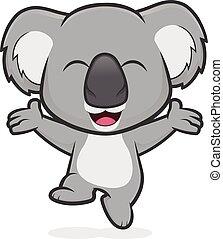 Happy koala jumping - Clipart picture of a happy koala ...