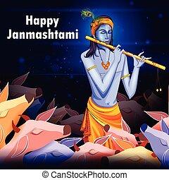 Happy Krishna Janmashtami background