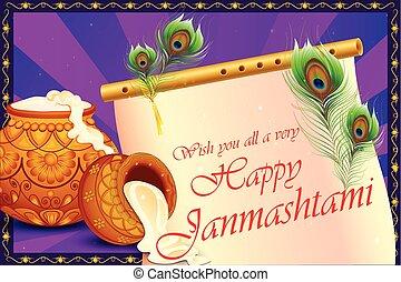 Happy Krishna Janmashtami background with pot of cream