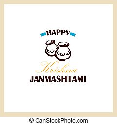 Happy Krishna Janmashtami Badge - Happy Janmashtami. Color...