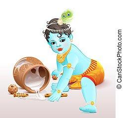 Happy Krishna Janmashtami. Blue boy god broke pot with...