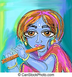 happy krishna janmashtami digital painting poster for indian...
