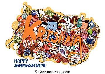 Happy Krishna Janmashtami Doodle - easy to edit vector...