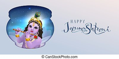 Happy Krishna Janmashtami greeting card for indian holiday