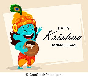 Funny cartoon character Lord Krishna - Happy Krishna...