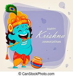 Funny cartoon character Lord Krishna - Happy Krishna...
