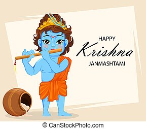 Happy Krishna Janmashtami greeting card