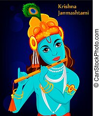 Happy Krishna Janmashtami greeting card. Lord Krishna Indian...