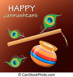Happy Krishna Janmashtami. Greeting post card. Easy to edit...