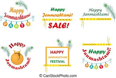 Happy Krishna Janmashtami set of typography with pot,...