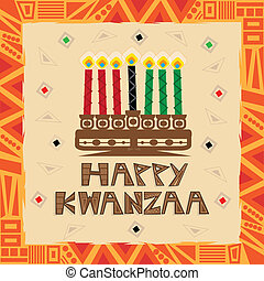 Happy Kwanzaa decorative greeting card. Eps10