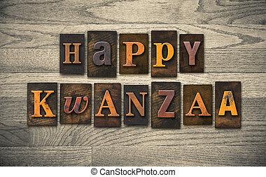 Happy Kwanzaa Wooden Letterpress Concept