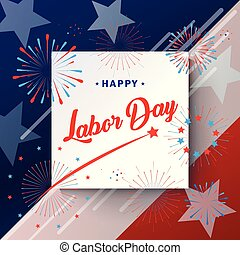 Happy Labor Day American flag greeting card vector
