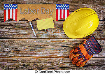 Happy Labor day american patriotic labor day word of letters on leather gloves