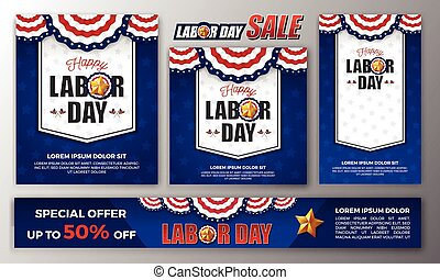 Happy Labor day banner set - Happy Labor day banner...