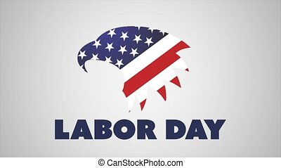 Happy Labor Day banner with Eagle on white background. 4k animation