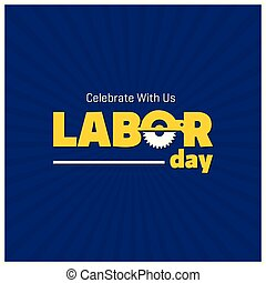 Happy Labor Day Beautiful Typography on a Blue Lining Background