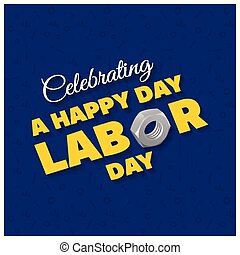 Happy Labor Day Beautiful Typography on a Blue Patterened Background
