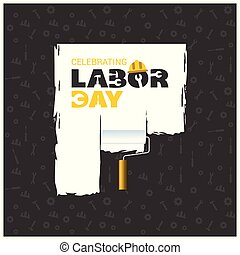 Happy Labor Day Beautiful Typography with Painting Brush on a Blue Patterened Background