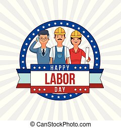 Happy labor day card with people professions and jobs ...