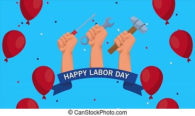 happy labor day celebration with hands lifting tools and ...