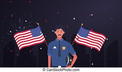 happy labor day celebration with police officer and usa flag...