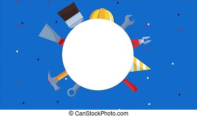 happy labor day celebration with tools and circular frame ,...