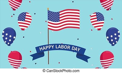 happy labor day celebration with usa flag and balloons ...