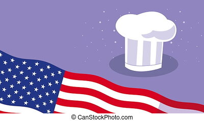 happy labor day celebration with usa flag and chef hat ,4k video animated