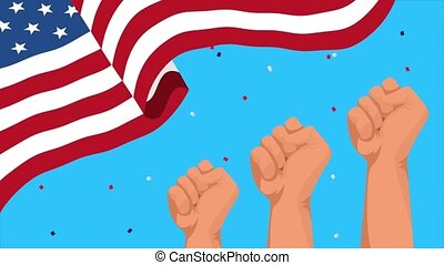 happy labor day celebration with usa flag and clenched hands...