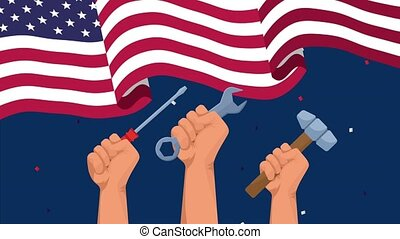 happy labor day celebration with usa flag and hands lifting ...