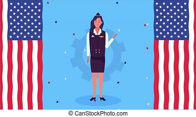 happy labor day celebration with usa flag and stewardess ,4k video animated