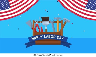 happy labor day celebration with usa flag and toolsbox ,4k ...