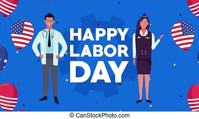 happy labor day celebration with usa flag in balloons helium with doctor and stewardess ,4k video animated