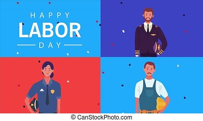 happy labor day celebration with workers characters ,4k ...
