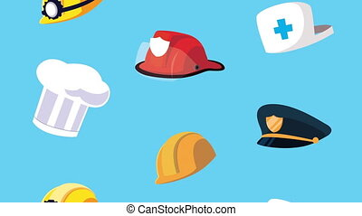 happy labor day celebration with workers hats ,4k video animated
